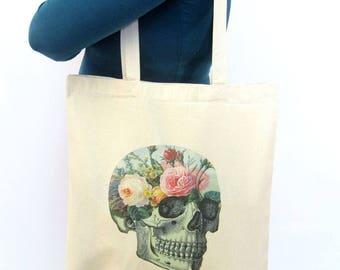Floral Skull Tote Bag Secret Garden Flower Roses Flowers Canvas Tote Bag