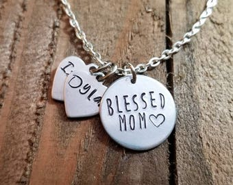 Blessed Mom Necklace - Mothers Day Necklace - Blessed Necklace - Mom Necklace - Custom Children Name Necklace