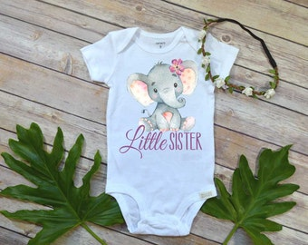 Little Sister Shirt, Elephant Theme, Little Sister Gift, Boho Baby Shirt, Little Sister bodysuit, Baby Shower Gift, Little Sister shirt,