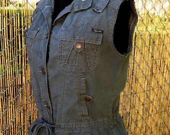 Gray Military Vest Style Punk cutoff  womens large juniors XL ~ Gray Union Bay Utility Cargo sleeveless jacket vest extra large juniors