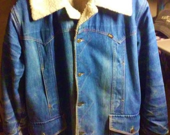 Awesome 60's Vintage Lee Storm Rider Jacket in Great Slightly Distressed Condition Size XL Men's Jacket. Worn Denim Work Wear USA Made!