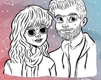 Custom Illustration - Couple (Black & White with colour background)