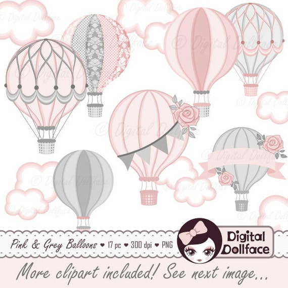 Hot Air Balloon Baby Shower Digital Clip Art, Commercial Use Clipart / Pink  And Gray Baby Shower Printables