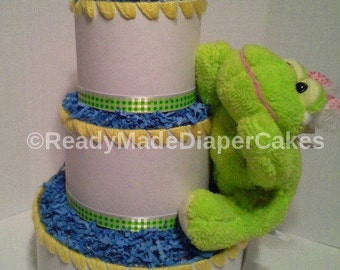 yellow and green springtime themed baby shower creative 3 tier froggy diaper cake table centerpiece or