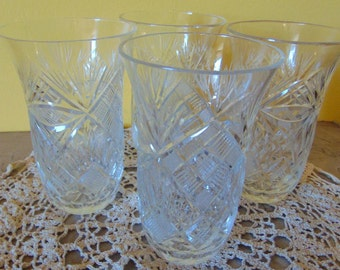 4 Cut Glass Drinking Glasses from Poland / Vintage Cut Glass Glasses Poland