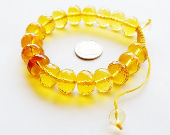 Citrine Yellow Petite Facets Glass Bead Bracelet In Box - Beautiful Yellow Cord