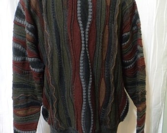 "Vintage 80s, 90s, ""Coogi-like Styling"" Wool Sweater ""Robert Banks"" (Men's XL Tall), Great Colors & Textures, HipHop, Cosby Sweater"