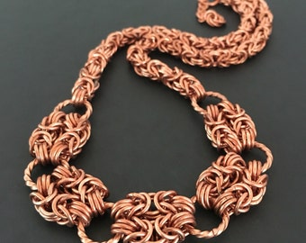 Copper Chainmaille Necklace - Chainmaille Jewelry - Romantic Romanov Necklace - 7 year Anniversary Gift - Gift for Wife - Gift for Her