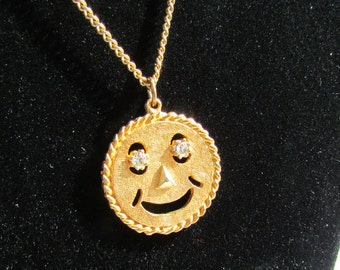 Vintage classic happy face rhinestone eyes necklace estate find