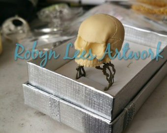 Large 3D Resin Human Skull Adjustable Ring on Bronze Filigree. Gothic Anatomy, Victorian Anatomical Costume