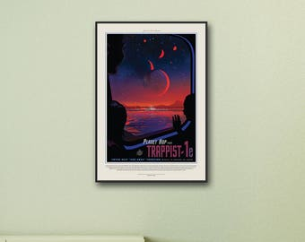 NASA Poster, Trappist-1e (Small Print), Space Art, Travel Poster, Space Prints, Science Gifts, Solar System, Framed Print / Print / Canvas.