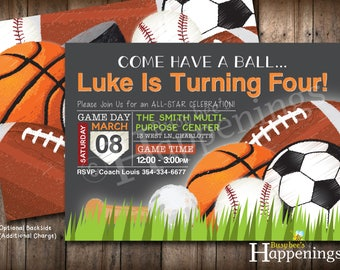 Sports Birthday Invitation Sports Invitation Ball Birthday Invite Sports Party Soccer Birthday Baseball Digital File Busy bee's Happenings