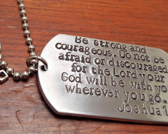 Hand Stamped Dog Tag necklace - Hand Stamped Bible Verse - Joshua 1:9 - Joshua 1-9 - Police Officer Dog Tags-State Trooper