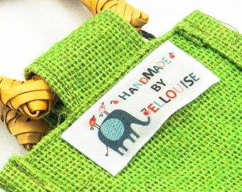 28 Pack Personalised Handmade Elephant End Fold Cotton Fabric Sewing Labels//Gift For Knitters//Stocking Filler//Handmade Christmas Gift