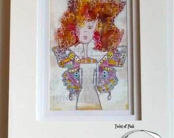 Butterfly Girl~Mixed Media art print