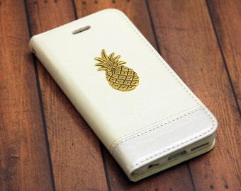 Wallet Case iPhone 7 Plus iPhone 6s White Leather with 24kt Gold Pineapple iPhone 7 Leather Case Slot Card Holder Phone Wallet iPhone 7 Case