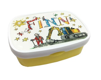 Lunch box with name, backhoe, yellow