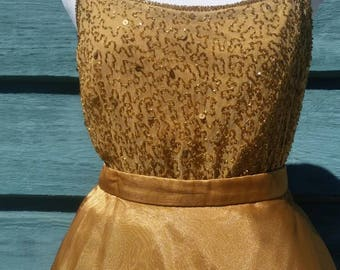 Vintage Beaded Top, gold evening cami, 80s sparkling spaghetti strap tank, strappy tank/beaded blouse/beaded formal top
