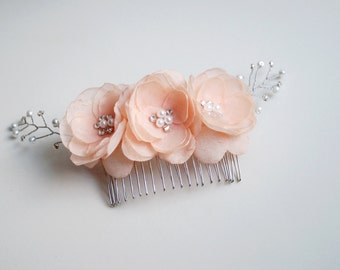 Peach Hair Comb, Swarowski Crystal Headpiece, Bridal Flower Comb, Peach Flower Wedding hair Accessories, Peach Hair Piece, Peach Hair Flower