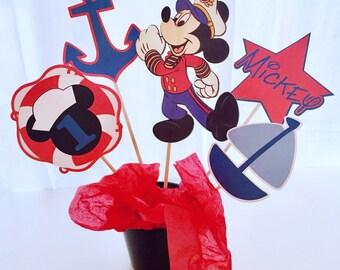 5 Piece Nautical Mickey Mouse Centerpiece, Mickey Mouse Centerpiece, Mickey Mouse Birthday Decor, Sailboat, Nautical Birthday, Cake Topper