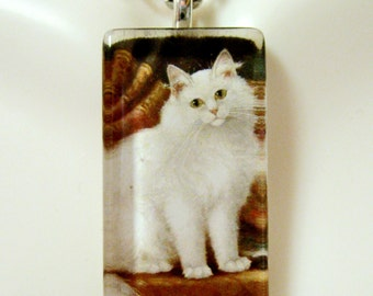 White cat pendant and chain - CGP12-110