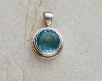 Blue Topaz Pendant, Modern Design
