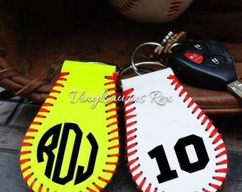 softball key fob / baseball key fob / key fob / softball / baseball / sports / monogram / keychain