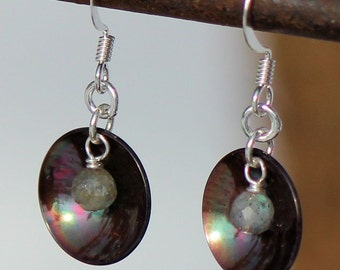 Copper and Labradorite Earrings