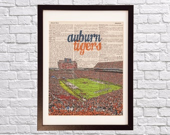 Auburn Tigers Dictionary Art Print - Jordan Hare Stadium Art - Auburn University Print - Vintage Dictionary Paper - Alabama, War Eagle