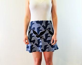 Sweater Dress - Bird Print - Vintage Reconstruction - Clearance