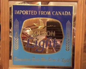 "Beer Sign Mirror Molson Light Oak Frame 15""x 15"", Excellent! GIFT IDEA"