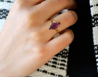 Purple Crystal Ring - Gold Crystal Ring - Size 7 Ring