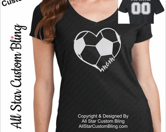 Soccer Mom Heart With Name Player Number, Soccer Mom Shirt, Custom Soccer Shirt, Shirt For Soccer Mom, Soccer Mom Tee, Personalized Soccer