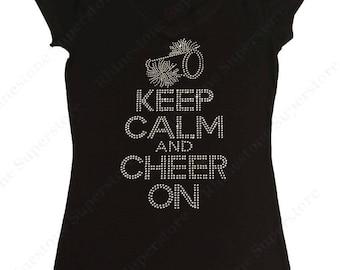 "Women's Rhinestone T-Shirt "" Keep Calm and Cheer On ""  in S, M, L, 1x, 2x, 3x Team Cheer / Cheerleader"