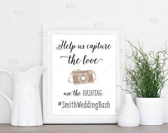 Wedding Hashtag Sign PRINTABLE Art / Custom wedding hashtag / Use your wedding colors / Hashtag Printable / Wedding Hashtag Print Sign