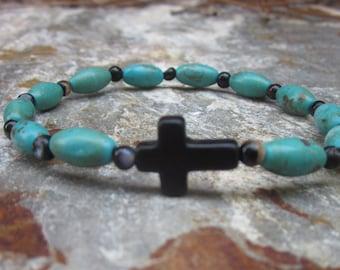 turquoise bracelet mens cross bracelet bohemian bracelet women's boho accessories black agate beaded bracelet  minimalist yoga bracelets