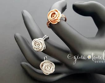 Wire Rose Ring, Wire Wrapped Ring, Twisted Wire Jewelry, Twisted Wire Ring, Lightweight Ring, Cute Ring, Wire Jewelry, Copper Rose Ring
