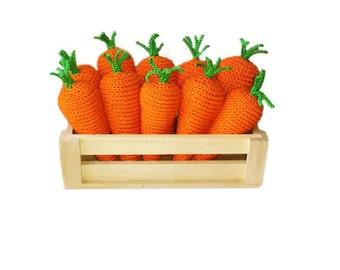 Inspirational kids gift Easter basket stuffers Crochet carrots Toys Personalized Easter Basket Organic Baby gift Kitchen decor Easter basket