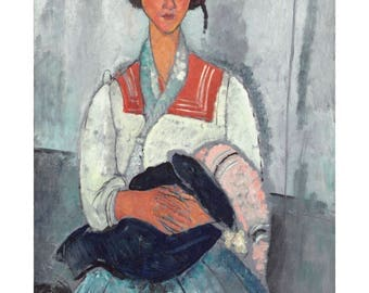 Italian Oil Painting, Gypsy Woman with a Baby, Modigliani, Painting Print