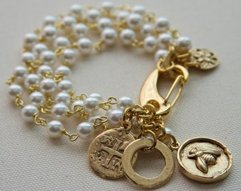 Bridal Pearl & Charm Bracelet, Grace Kelly, Rear Window, Multi Strand Pearl, Gold Coin, Charm Bracelet, Jewelry Trends 2017, FREE SHIPPING
