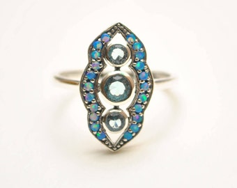 Sterling Silver Antique Style Art Deco Aquamarine Opal Ring Sz 8  #8641