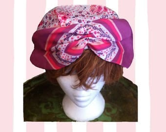 Vintage House Turban Curlers Bonnet Silky Poly Lined Shaped Front Medium to Large