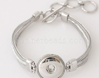 Multistrand Silver Bracelet with Toggle Closure
