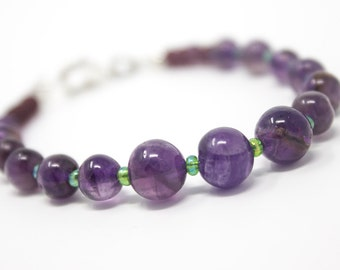 Amethyst Bracelet, Purple and Green Bracelet, February Birthstone, Beaded Gemstone Jewelry, Healing Gemstone