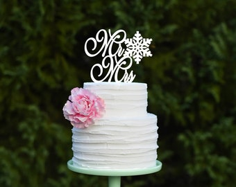 Snowflake Wedding Cake Topper Mr and Mrs Cake Topper Winter