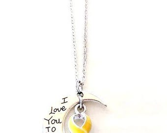 Yellow Awareness I Love You To the Moon and Back Necklace You Select Chain Material and Length