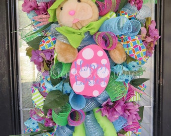 Easter Wreath, Easter Door Swag, Spring Wreath, Front door wreath, Wreath for door, Deco mesh wreath, Door Hanger