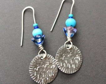 Small round handmade earrings with blue beads