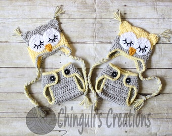 Twin Baby Owl Outfit Crochet Sleepy Owl Baby Hat and Matching  Diaper Cover Set Crochet Owl Hat Newborn Owl Outfit Crochet Twins Owl Hat