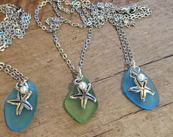Sea Glass Star Fish Necklace, Stainless steel Necklace, Ocean, Star Fish